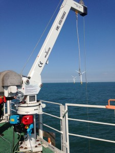 The Granada foundation davit in operation on an offshore wind turbine